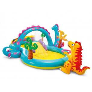 Plac zabaw - Tęczowa ślizgawka z kółkami Intex