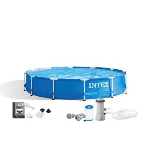 Materac do spania 99 x 191 x 25 cm Pillow Rest Classic Twin z wbudowaną pompką elektryczną 64146 Intex Pool Garden Party